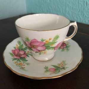 Vintage Pink And White Teacup